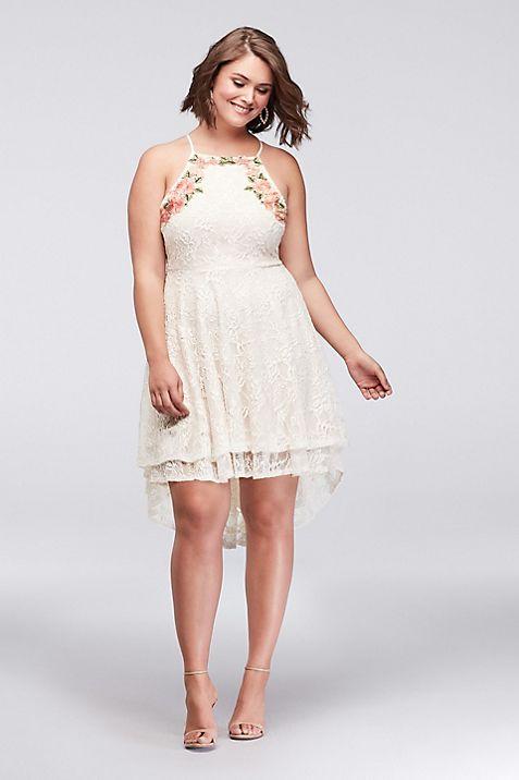Short Lace Plus Size Dress With High Low Hem Davids Bridal
