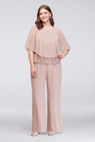 Three-Piece Chiffon Capelet Plus Size Pantsuit