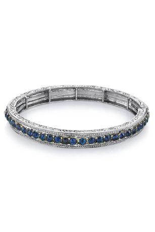 Two-Tone Gemstone Crystal Stretch Bracelet