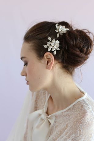 Crystal Speckled Blossom and Leaf Hair Pin Set
