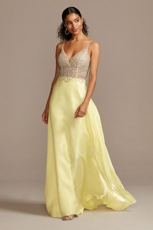 Crystal Embellished Illusion Bodice Satin Gown