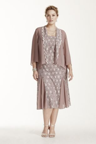 Tea Length Lace Jacket Dress With 3 4 Sleeves David S Bridal
