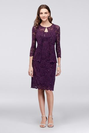 Shift Sequin Lace Dress with Matching Jacket