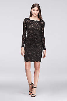 Long-Sleeve Scalloped Lace Cocktail Dress