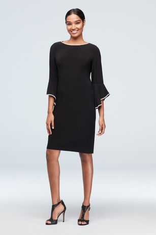 Crystal-Trimmed Bell Sleeve Jersey A-Line Dress