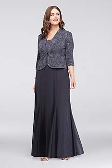 3/4 Sleeve Long Jacquard Jacket Dress