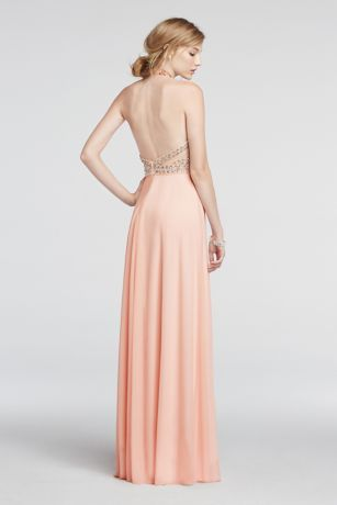 Halter Mesh Prom Dress with Beaded Waist | David's Bridal