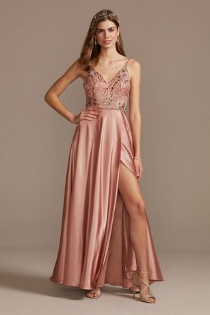 Long A-Line Spaghetti Strap Dress - Sequin Hearts