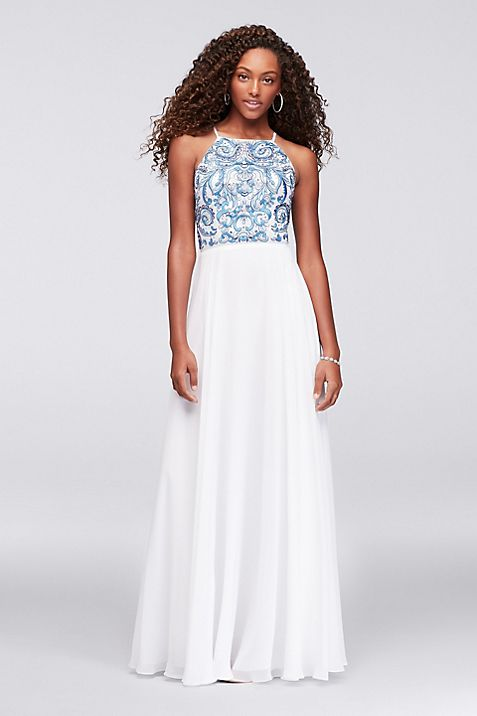 Embroidered High-Neck Chiffon Gown | David\'s Bridal