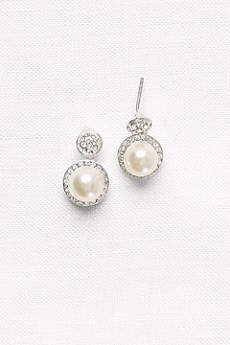 Pave Pearl Drop Earrings