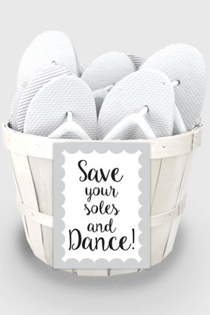 Black White Wedding Flip Flop Favors Set Of 6