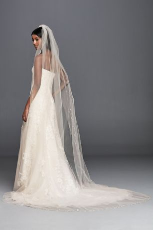 Beaded Floral Cathedral Veil wtih Scallop Edge