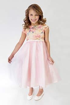 Floral Short Sleeve Tulle Flower Girl Dress