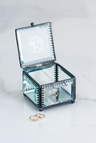 Metal-Trimmed Beveled Glass Monogram Ring Box