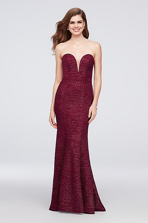 Strapless Plunge Glitter Knit Mermaid Gown | David\'s Bridal