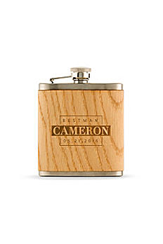 Personalized Wood Wrapped Flask 7060