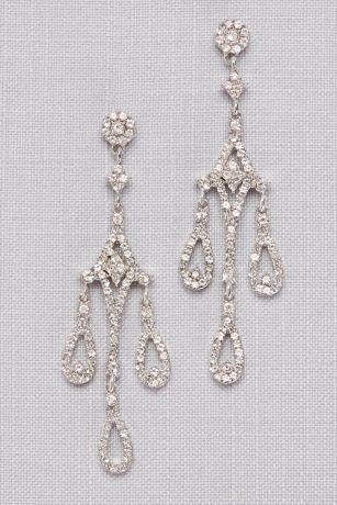 Crystal Teardrop  Chandelier Earrings