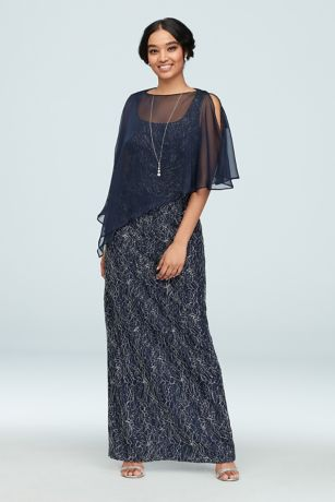Long Sheath Capelet Dress - Ignite