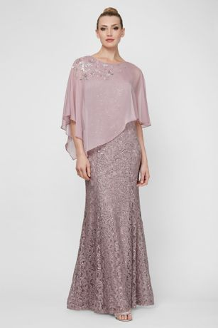 Long A-Line Capelet Dress - SL Fashions