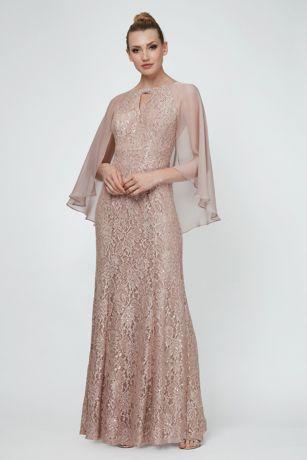 ba0ffeb038 Long Mermaid  Trumpet Capelet Dress - Ignite · Ignite. Sequin Lace ...
