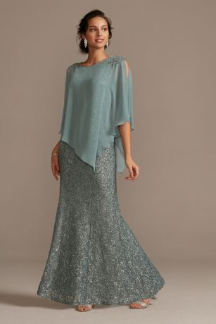 Long Mermaid / Trumpet Capelet Dress - Ignite