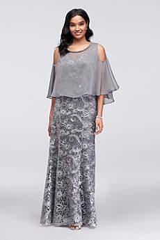 Long Sheath Capelet Formal Dresses Dress - Ignite