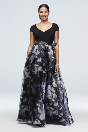Printed Organza Ball Gown with Jersey Bodice