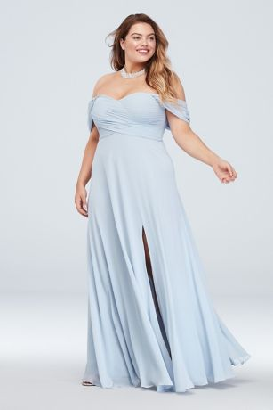 53e2cf0c7b Long A-Line Off the Shoulder Dress - Sequin Hearts · Sequin Hearts. Off the  Shoulder Pleated Bodice Plus Size Gown