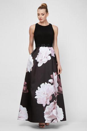 bda601e4ed7 Long Ballgown Halter Dress - Ignite · Ignite. Floral Printed Mikado Ball  Gown with Beaded Waist