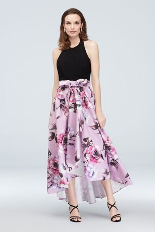Halter Nigh-Neck Gown with Floral High-Low Hem