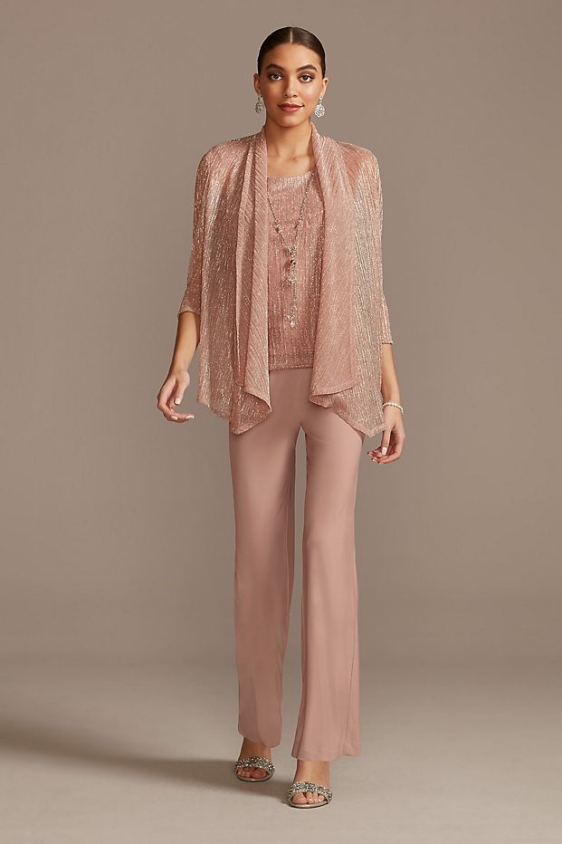 Metallic Crinkle Chiffon Three Piece Pant Suit Set