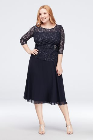 Tea Length A-Line 3/4 Sleeves Dress - Emma Street