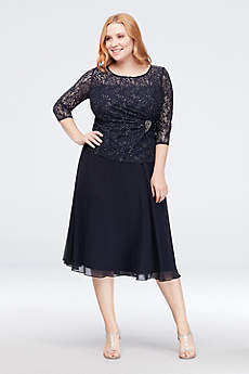 Tea Length A-Line 3/4 Sleeves Formal Dresses Dress - Emma Street