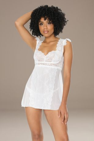 Coquette Lace Panel Chemise and G-String