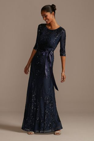 Long Mermaid/Trumpet 3/4 Sleeves Dress - RM Richards