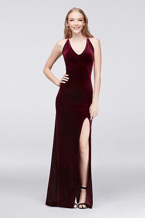 V-Neck Velvet Sheath Dress | David\'s Bridal