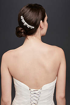 Bridal Comb with Scroll Detail, Pearls and Crystal