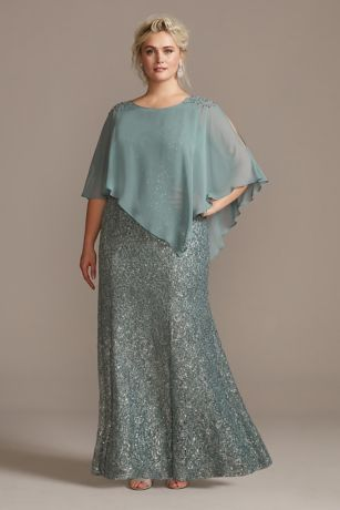 Long Mermaid/Trumpet Capelet Dress - Ignite