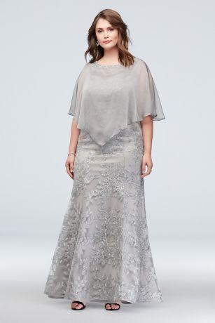 Long Mermaid/ Trumpet Capelet Dress - Ignite