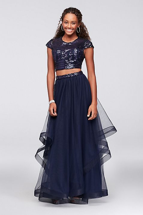 Cap Sleeve Sequin and Tulle Two-Piece Prom Dress | David\'s Bridal