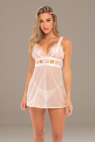 Janet Mesh Eyelash Lace Chemise with G-String