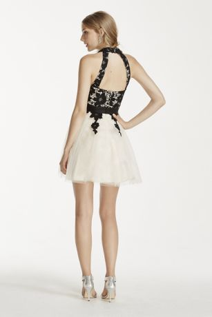 Open Back Lace Halter Dress With Short Tulle Skirt David