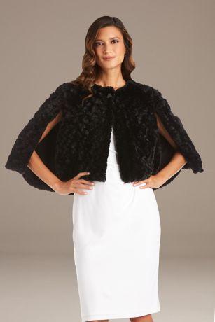Textured Faux Fur Capelet Jacket