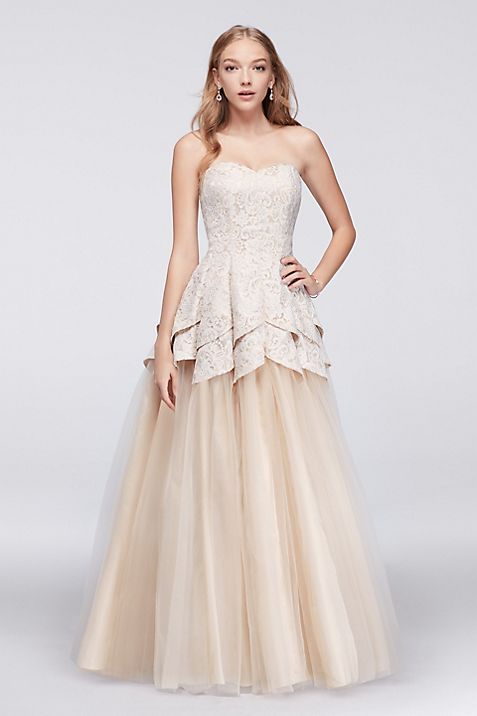 Lace and Tulle Ball Gown with Tulip Bodice | David\'s Bridal