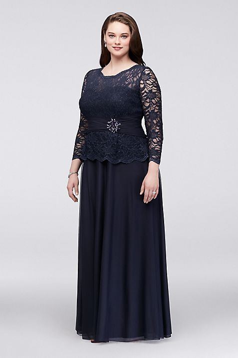 Glitter Lace Dress with Long Sleeves | David\'s Bridal