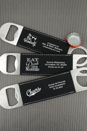 Personalized Faux Leather Paddle Bottle Openers