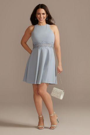 Crisscross Back Mini Dress with Embroidered Waist