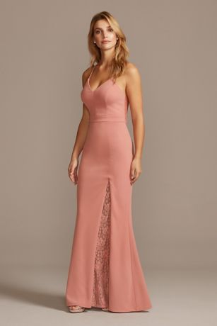 Racerback Lace Scuba Crepe Mermaid Gown