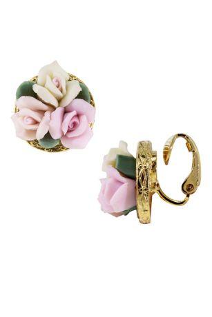 Porcelain Bouquet Clip-On Earrings