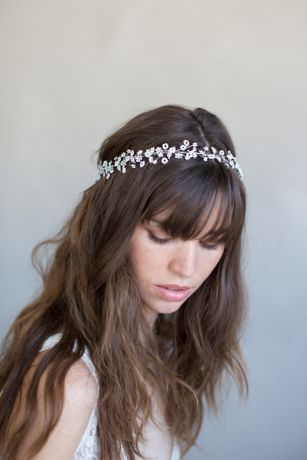 Delicate Beaded Flower and Crystal Hair Vine